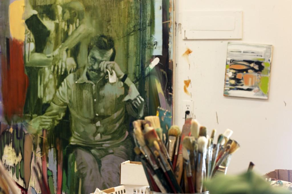 painting abstract faces, bartosz beda studio, paintings, bartosz beda art, bartosz beda artist, artist studio, bartosz beda