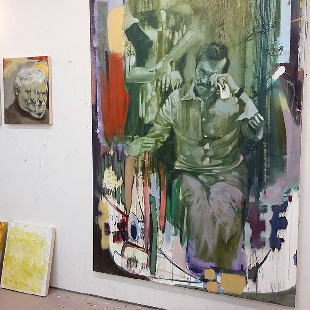 painting abstract backgrounds, bartosz beda studio, paintings, bartosz beda art, bartosz beda artist, artist studio, bartosz beda